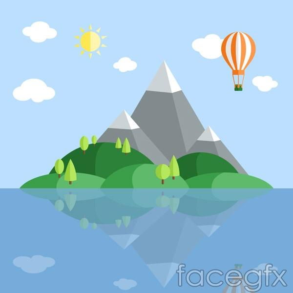 Sea Island scenery vector
