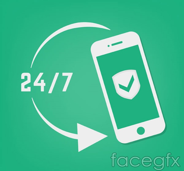 Mobile phone protection signs vector