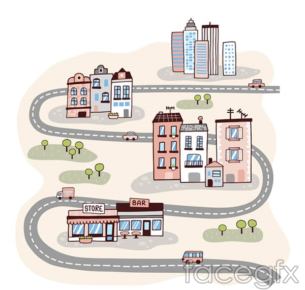 Curved roads and cities vector