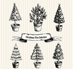 Hand-painted Christmas tree pot vector