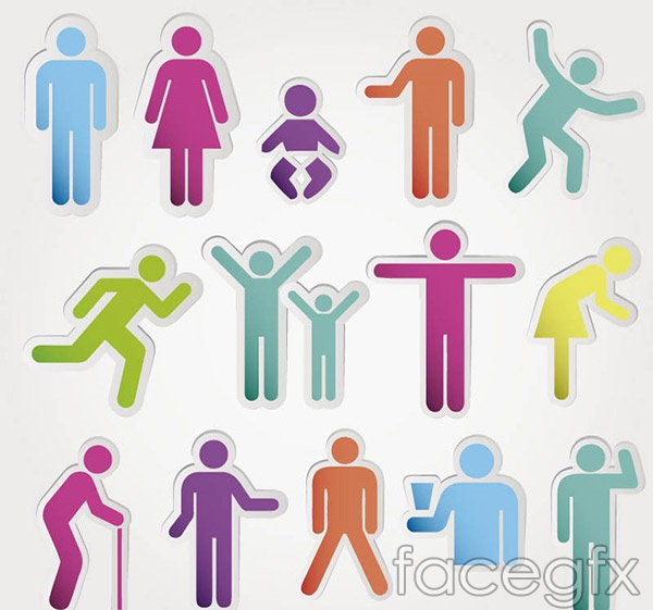 Color character stickers vector