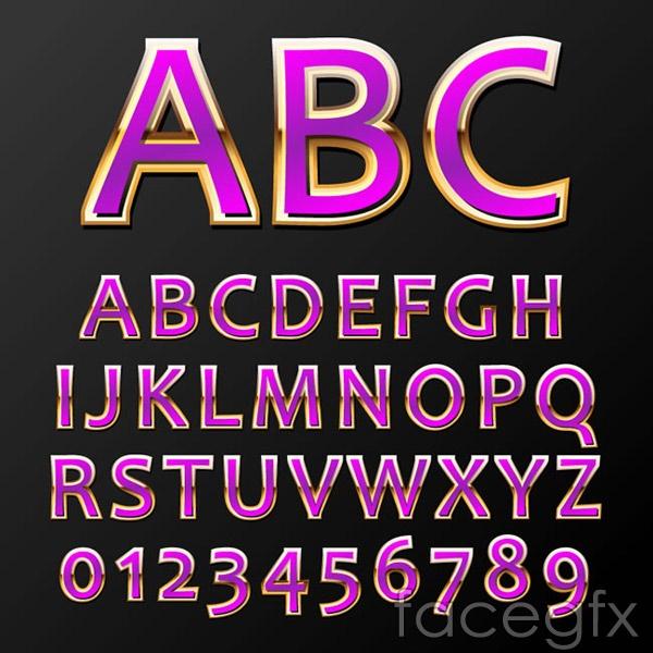 Royal purple letters vector