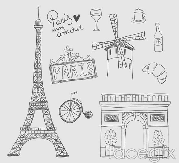 Paris hand-painted elements vector