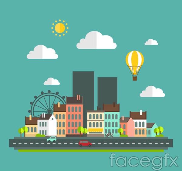 Flat city illustrations vector