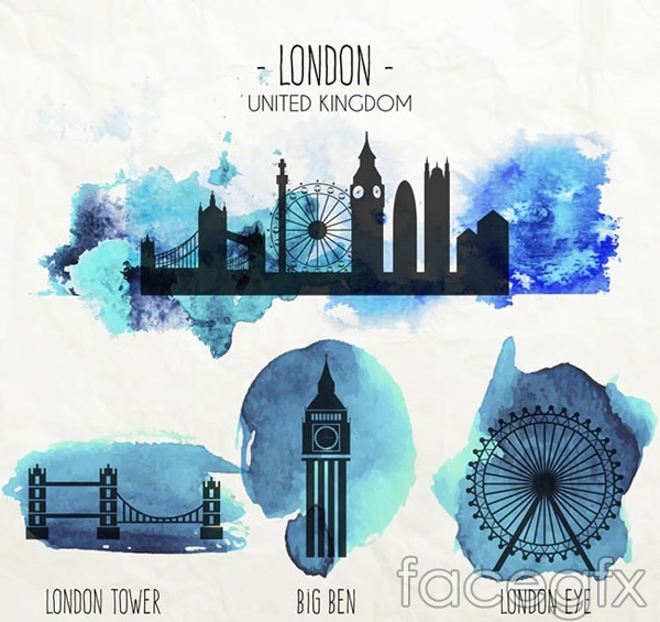 Watercolour United Kingdom building vector