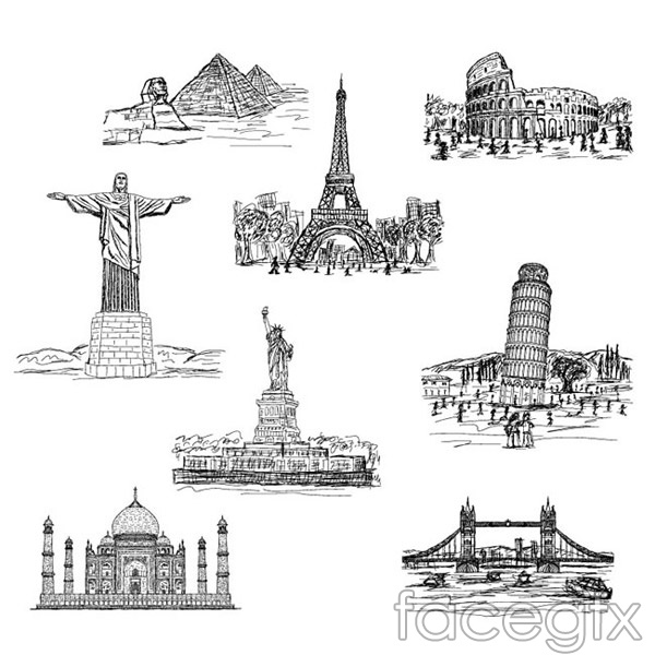 World famous building vector