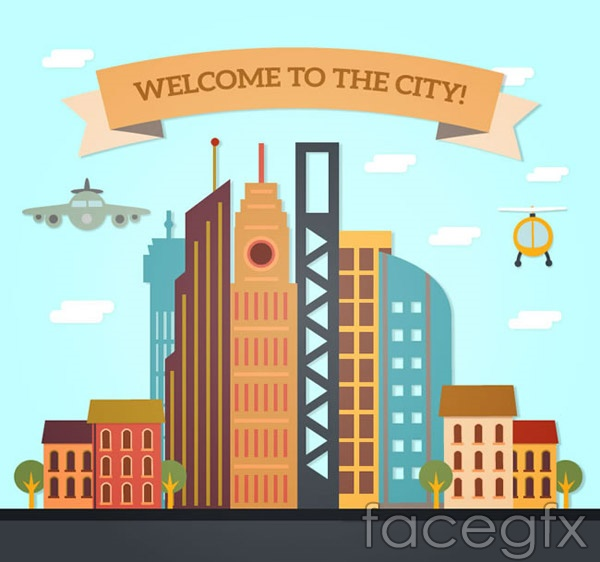 City welcomes poster vector