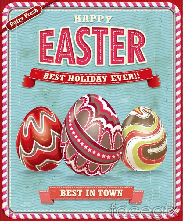 Easter egg pattern card vector