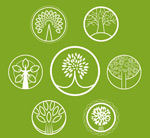 Round abstract tree icons vector
