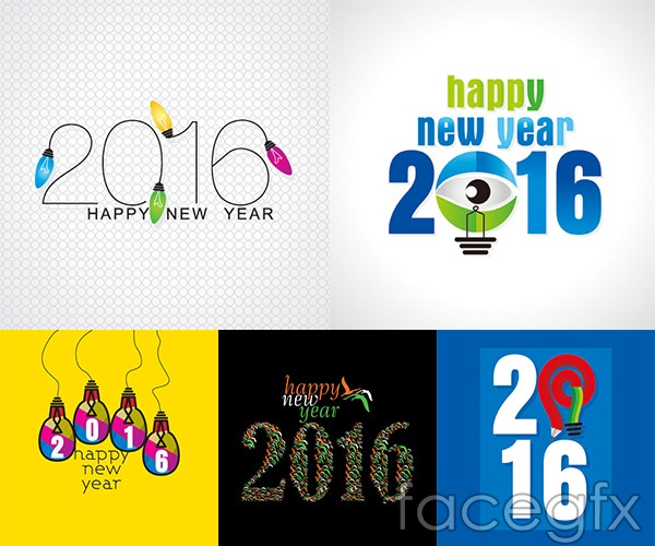 2016 new year creative vectors