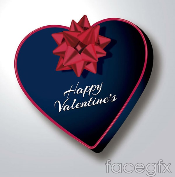 Blue heart-shaped gift box vector