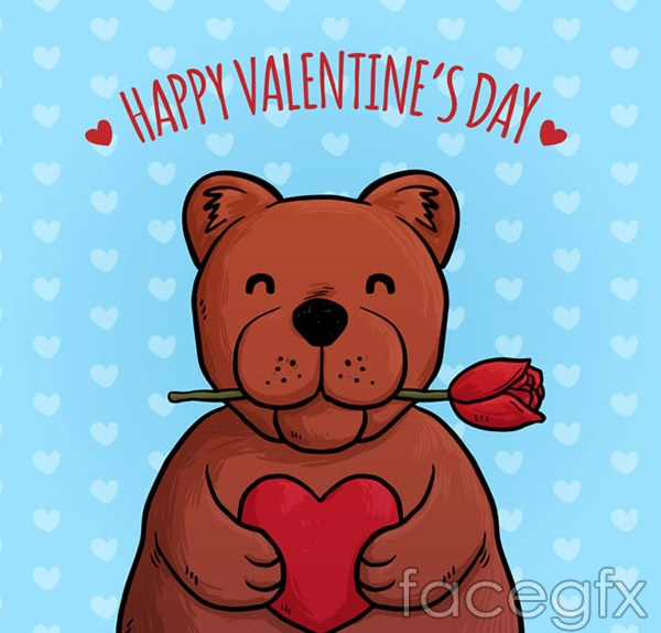 Brown bear Valentine's day cards vector