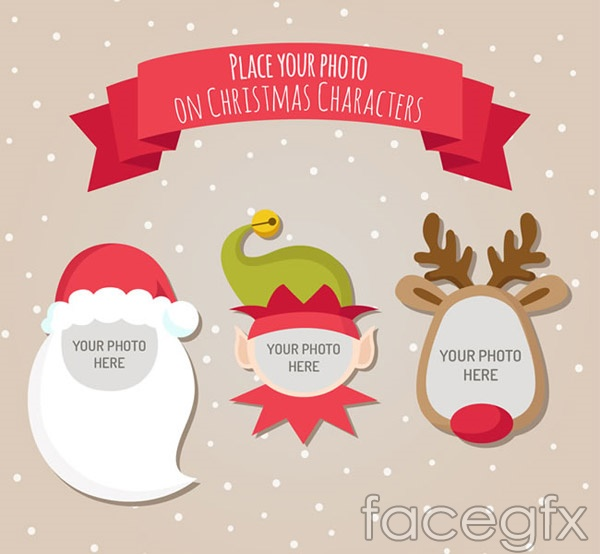 Cartoon Christmas characters photo frame vector