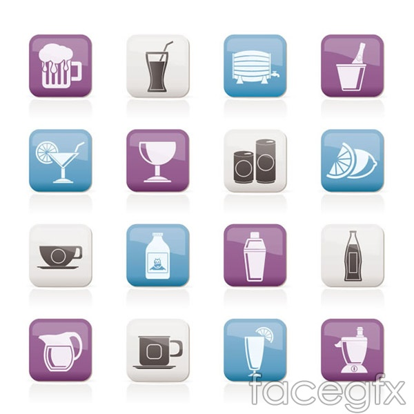 Drinks sticker icons vector