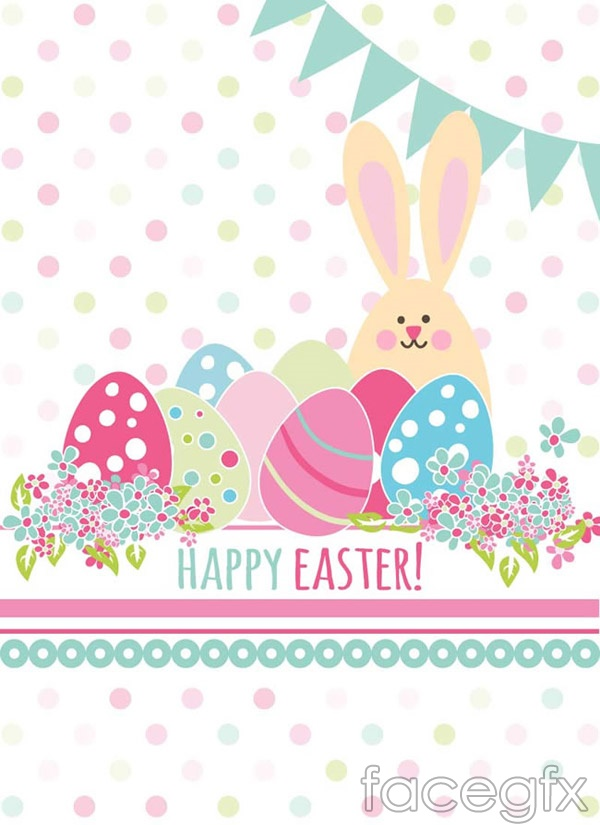 Egg and Bunny greeting card vector