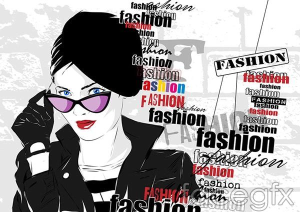 Fashion women sunglasses vector
