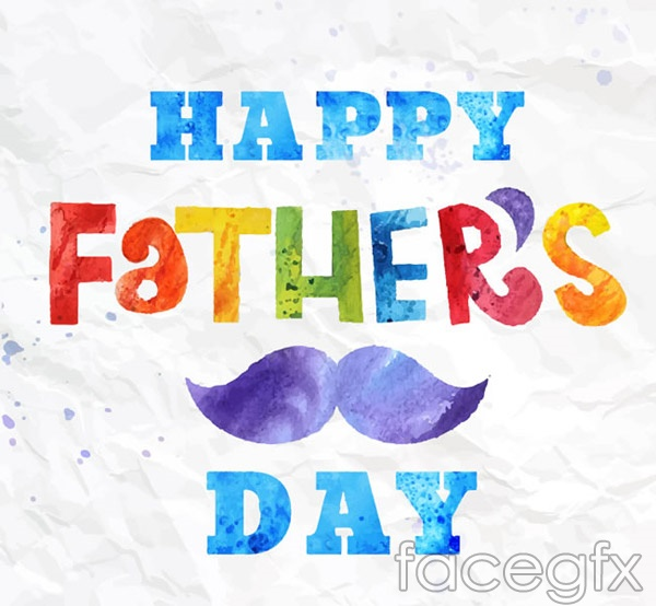 Father's water color cards vector