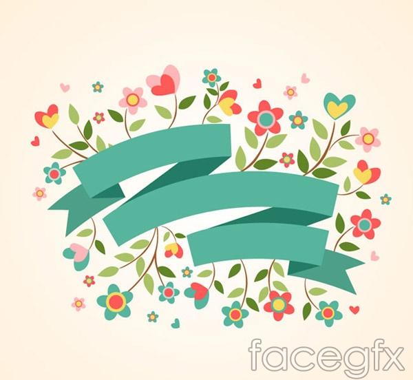 Flower Ribbon banner vector