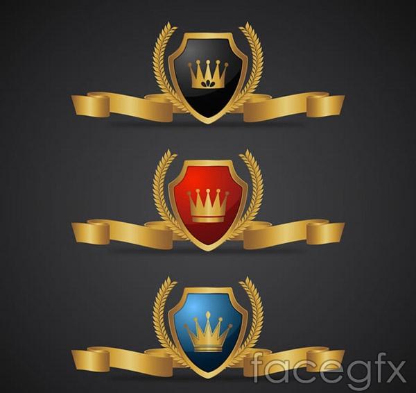 Golden Ribbon shield vector