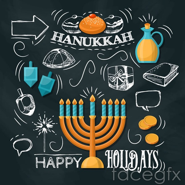 Hanukkah candle card vector