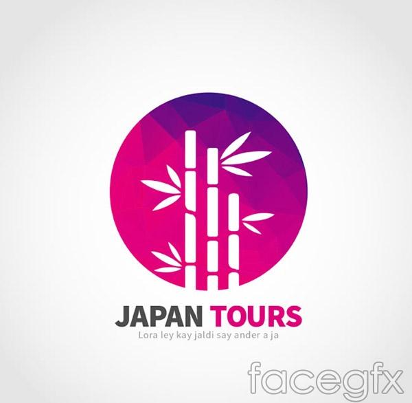 Japan bamboo travel logo vector