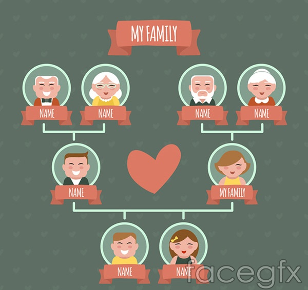 Lovely family tree vector