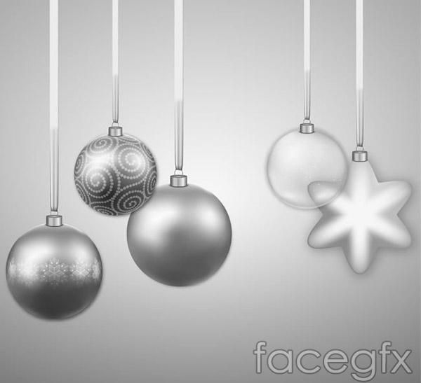 Silver Christmas ornament vector