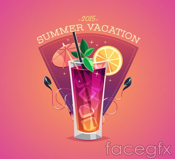 Summer cocktail posters vector