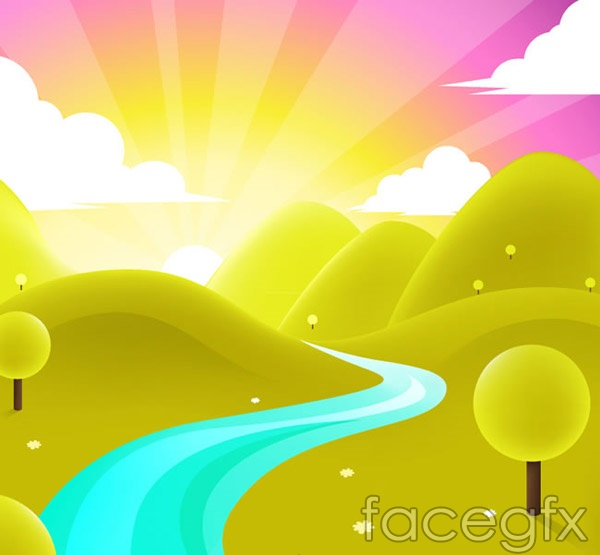 Valleys of the rivers illustration vector