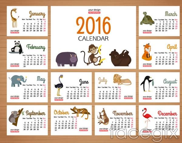 2016 small animal calendars vector