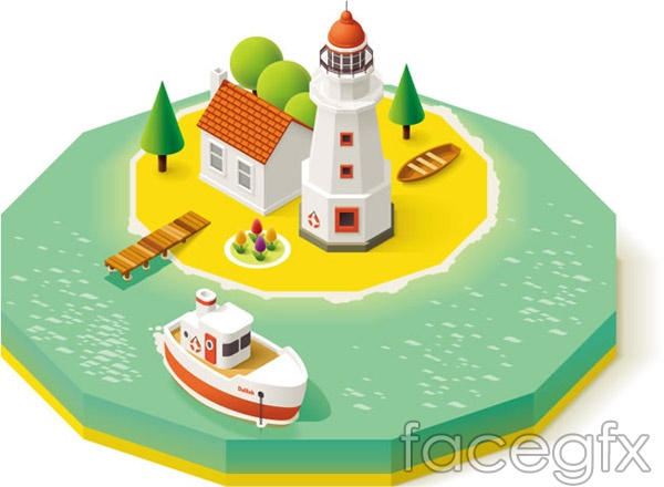 3D holiday island overlooking vector