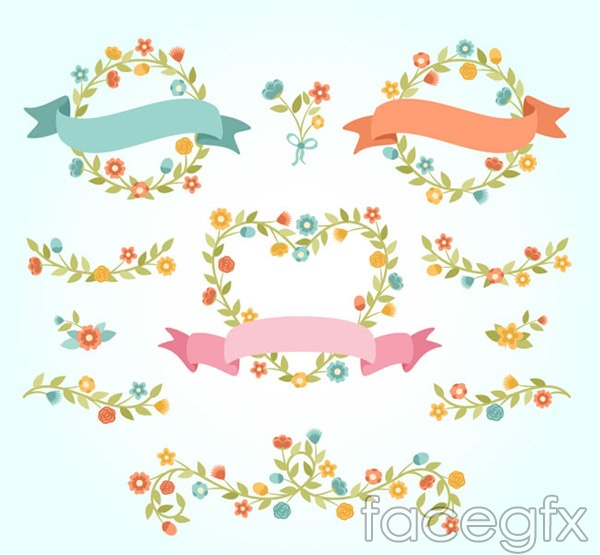 Cartoon flowers and ribbons vector