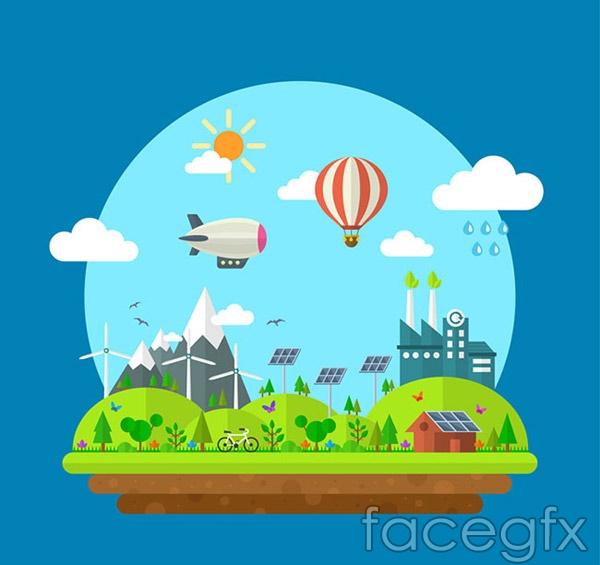 Cartoon green cities vector