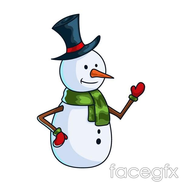 Cartoon snowman Hat vector