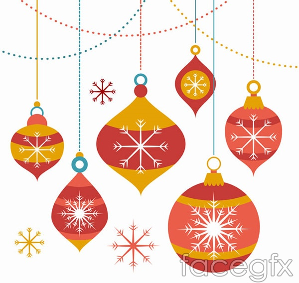 Christmas ball and snowflake celebration vector