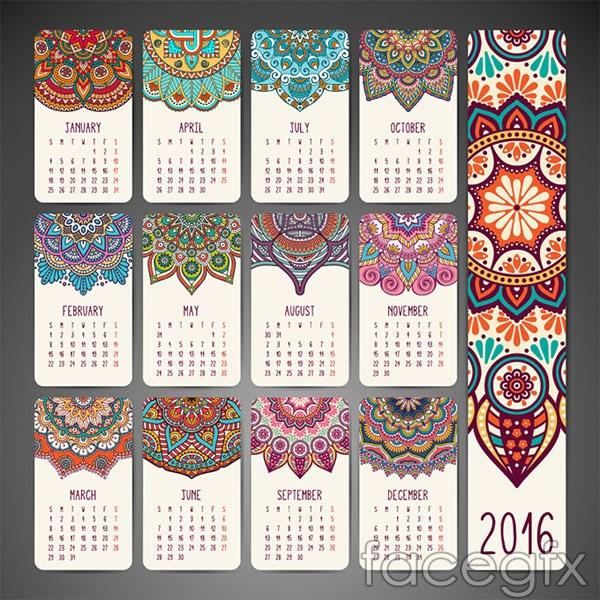 Classical pattern 2016 calendar vector