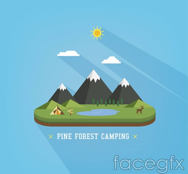 Forest camp views vector