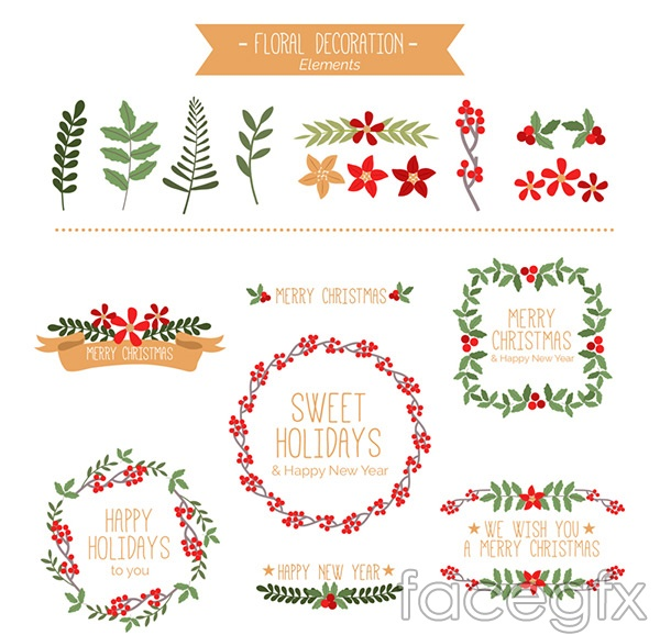 Garlands and Christmas plants vector