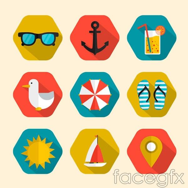 Hexagonal holiday icons vector