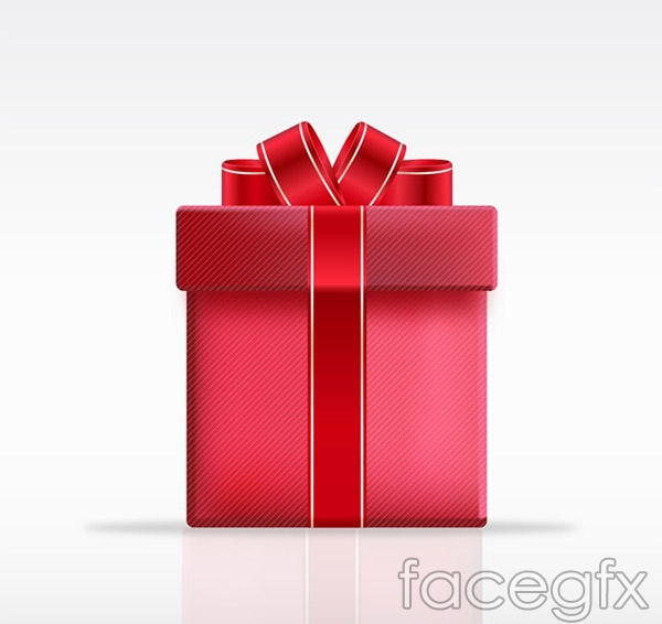 Red Ribbon gift box vector