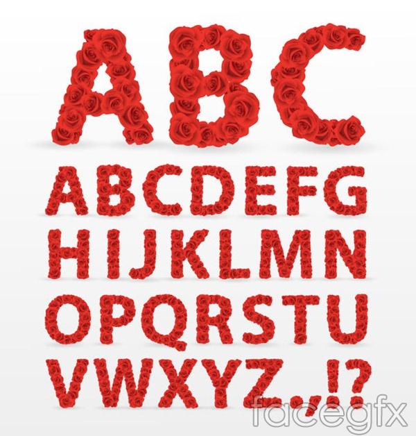 Red Rose-alphabet vectors