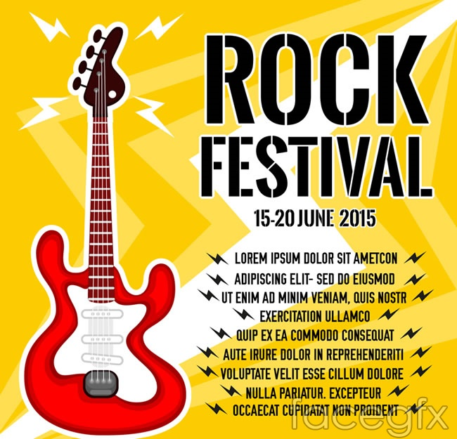 Rock and roll music festival poster vector