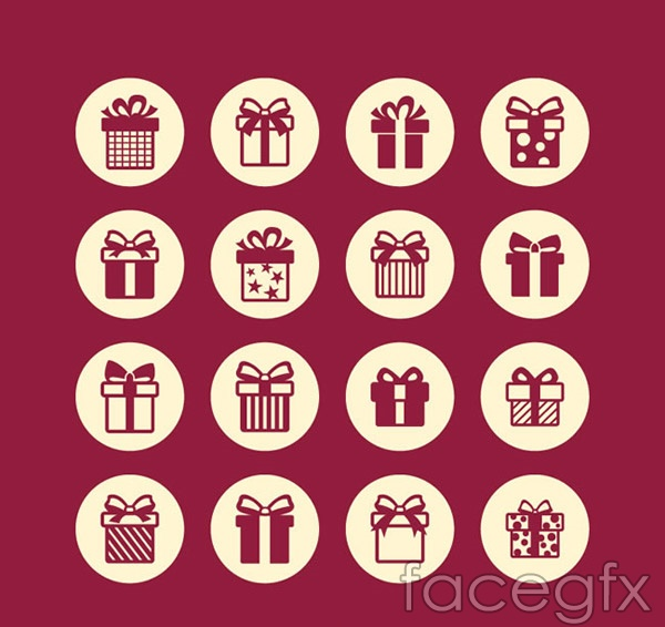 Round gift box icon vector