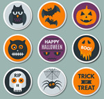 Round Halloween stickers vector