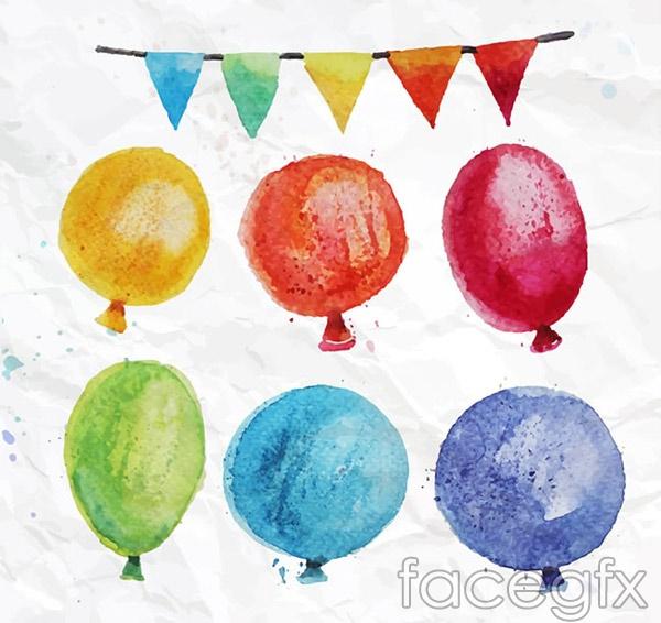 Watercolor color balloons vector