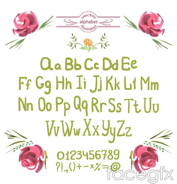 Watercolor handwritten letters vector