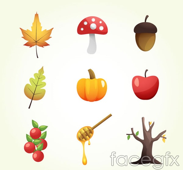 Autumn element icons vector