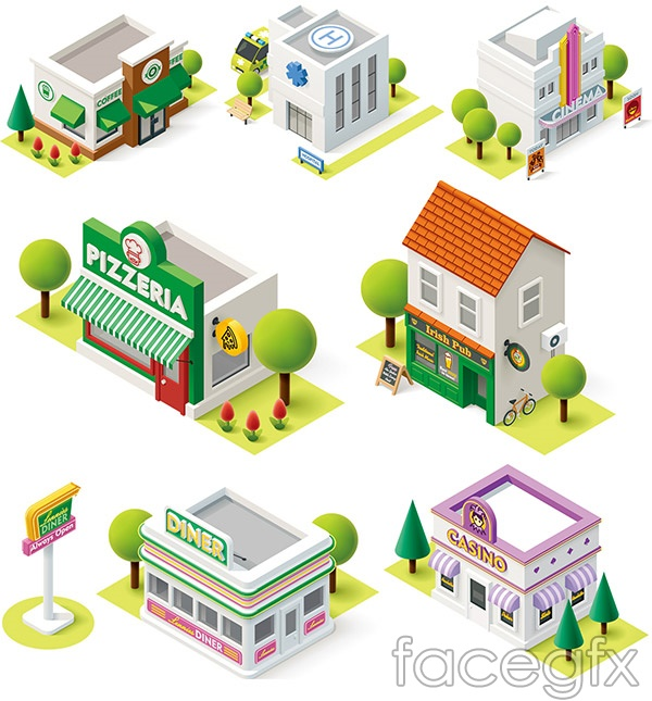 Beautiful cartoon buildings vector