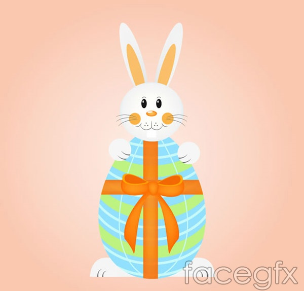 Cartoon hold Easter egg Bunny vector