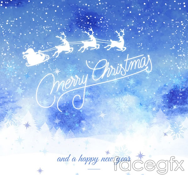 Christmas Eve sleigh card vector